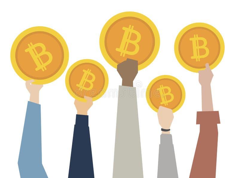 Ilustracja ręki pokazuje bitcoins ilustracji
