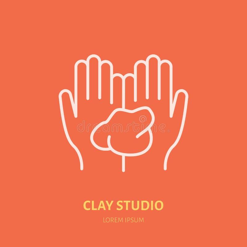 Ilustracja ręki trzyma glinę Ceramiczny warsztat, ceramics klas kreskowa ikona Gliniany studio znak Ręka budynek ilustracji