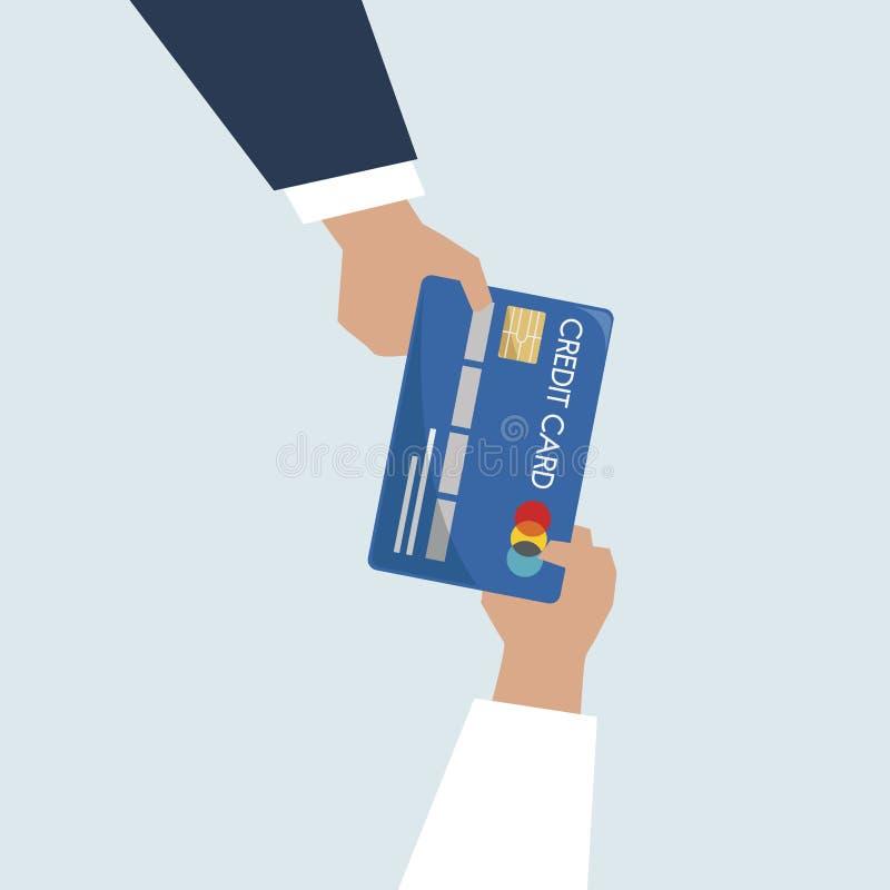 Ilustracja ręki trzyma kredytową kartę ilustracja wektor