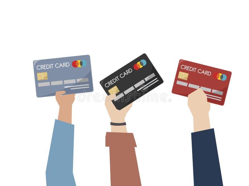 Ilustracja ręki trzyma kredytowe karty royalty ilustracja