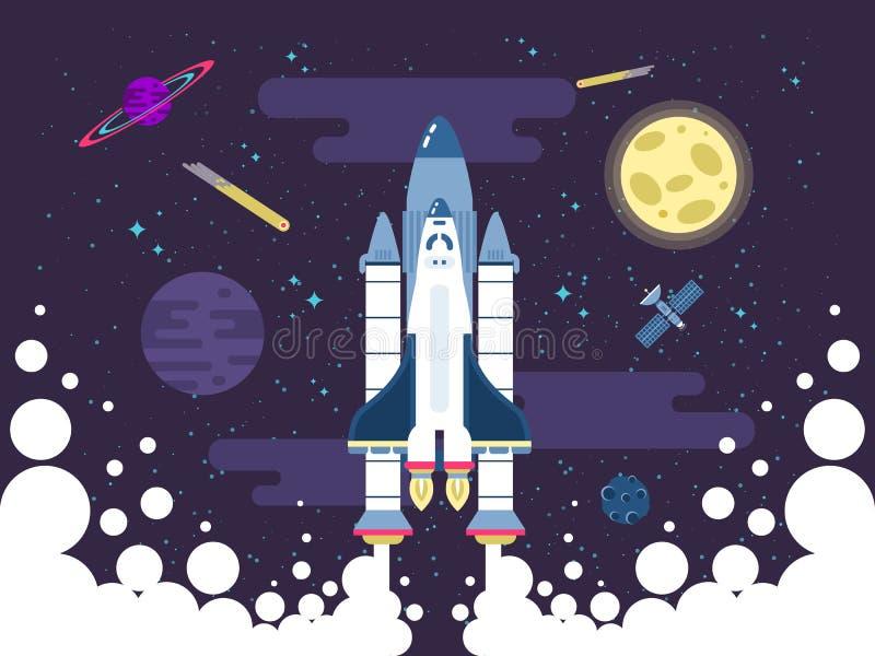 Ilustracja rakietowe komarnicy w kosmosie w mieszkanie stylu ilustracja wektor