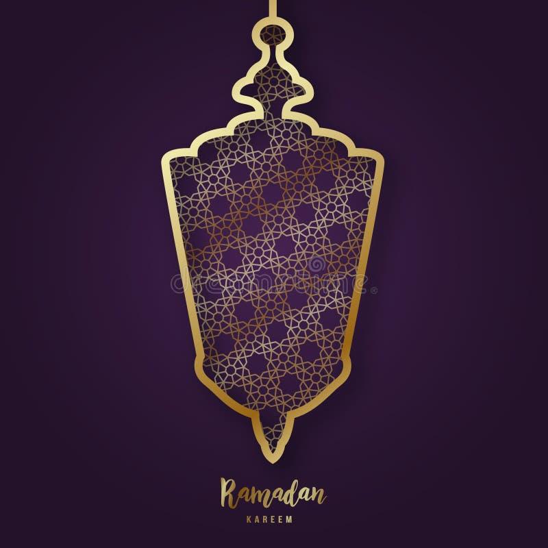 Ilustracja Ramadan Kareem z dekoracyjną Arabską lampą w papieru cięcia literowaniu i stylu ilustracji