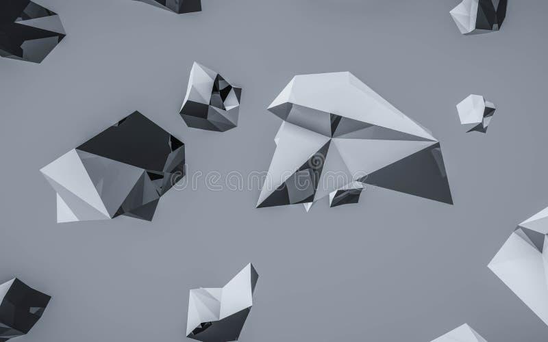 Ilustracja renderowania 3d w tle o niskim poli(ciemnym) fotografia stock