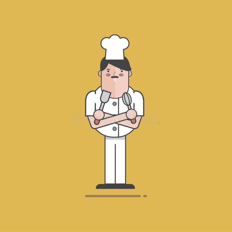 Ilustracja restauracyjny szef kuchni z narzędziami ilustracja wektor
