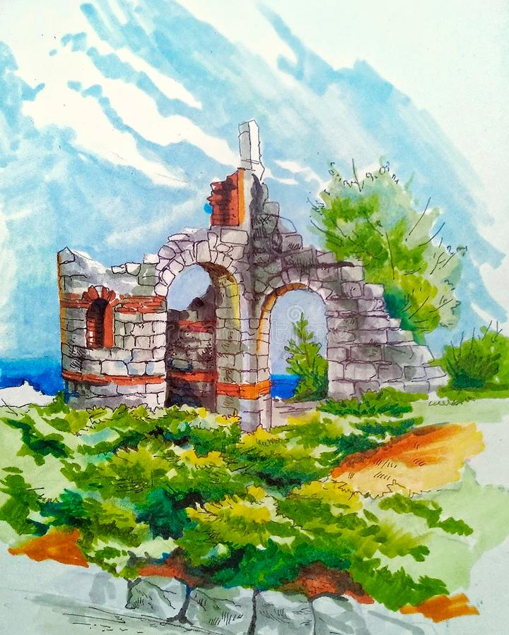 Ilustracja resztki antyczny budynek royalty ilustracja