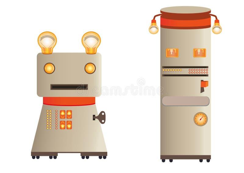 Ilustracja - retro robot postacie (charaktery) ilustracji