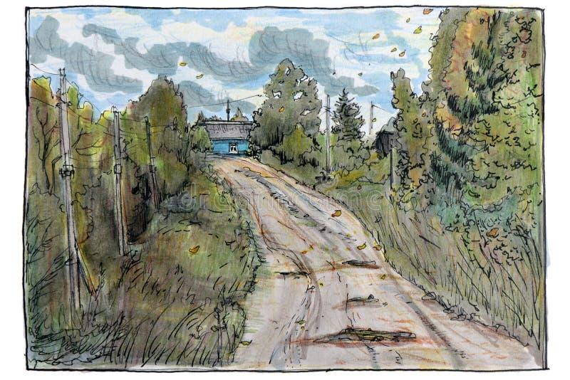 Ilustracja robić nakreślenie porady piórem W lato wiejski krajobraz royalty ilustracja