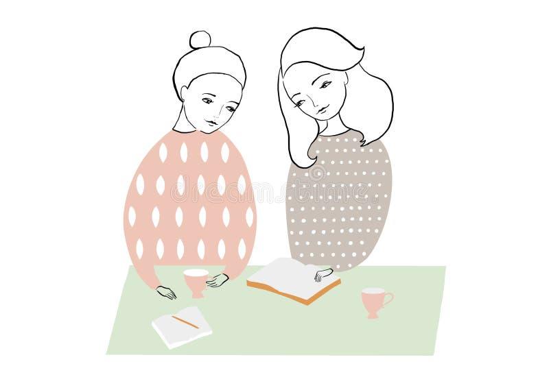 Ilustracja robi notatkom przy stołem kobiety lub dziewczyny czyta książkę i studing, Deseniowy kobiecy projekt royalty ilustracja