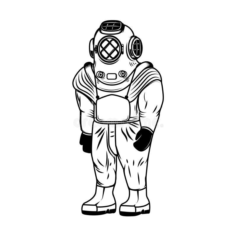 Ilustracja rocznika nurka kostium odizolowywający na białym tle Projektuje elementy dla loga, etykietka, emblemat, znak royalty ilustracja