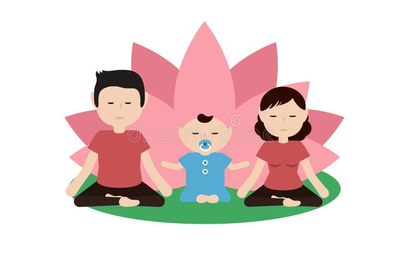 Ilustracja rodzinny ćwiczy joga wpólnie ilustracja wektor