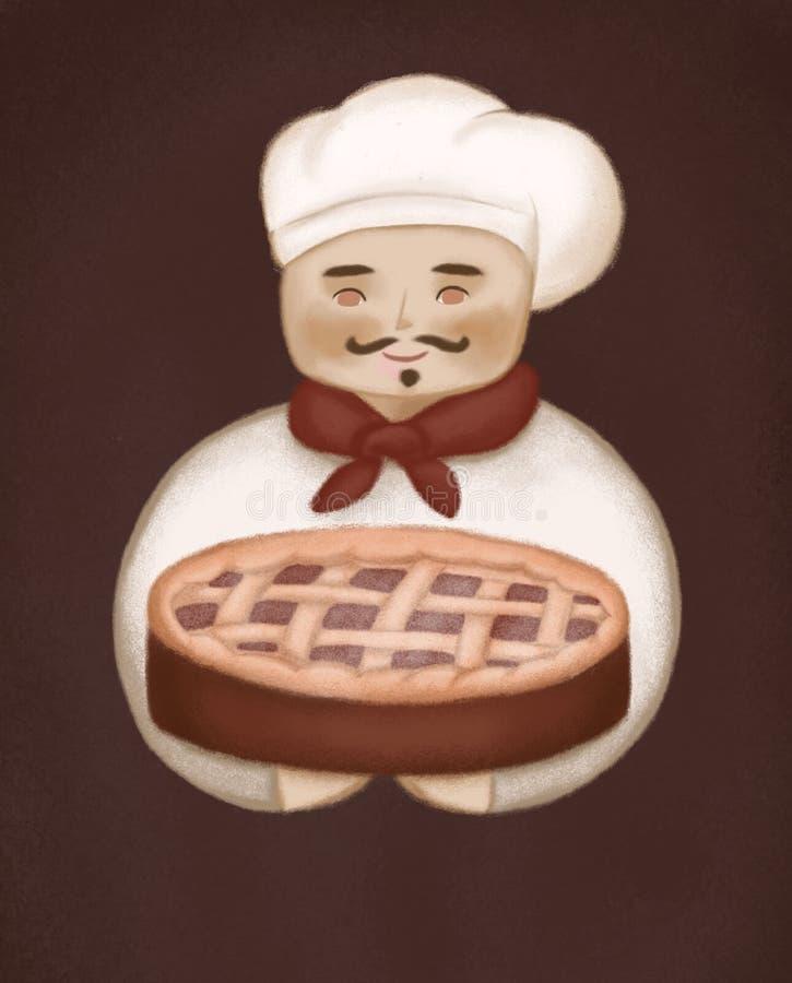 Ilustracja rozochocony kucharz z czereśniowym kulebiakiem w jego ręki ilustracji