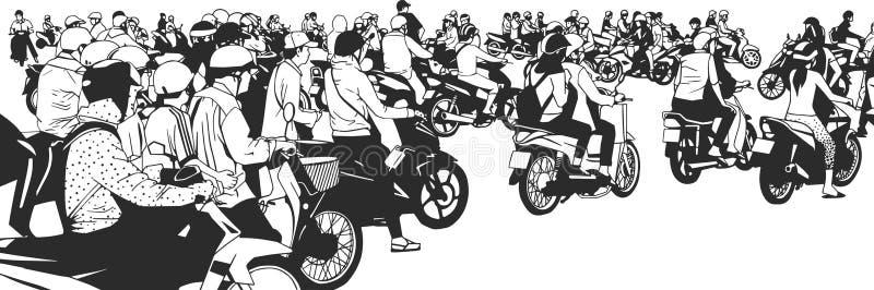 Ilustracja ruchliwie azji południowo wschodniej uliczny widok z motocyklami i mopeds royalty ilustracja