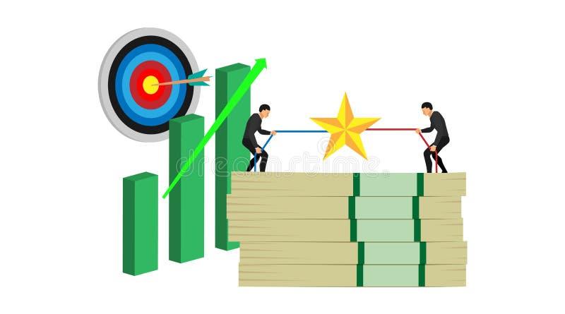 Ilustracja rywalizacja dwa ludzie wygrywa walkę nad celem dostawać bogactwo z pustym tłem cel ilustracja wektor