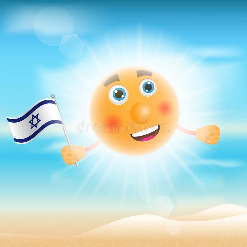 Ilustracja słońce trzyma Izraelicką flaga ilustracja wektor