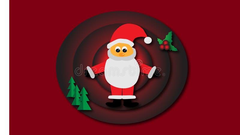 Ilustracja Santa i nowego roku drzewo royalty ilustracja