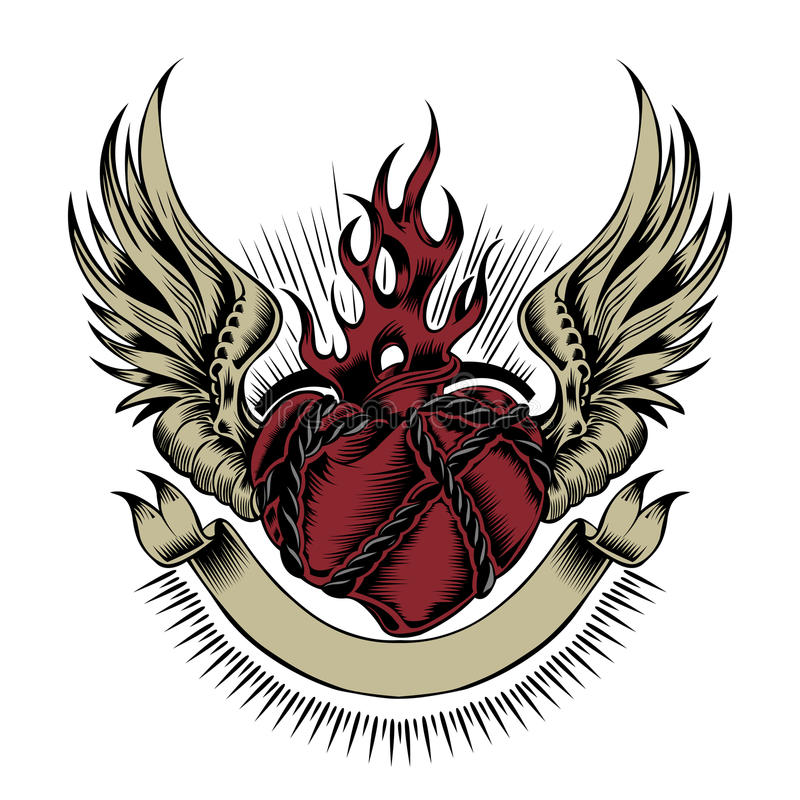 Ilustracja serce z skrzydłami fotografia royalty free