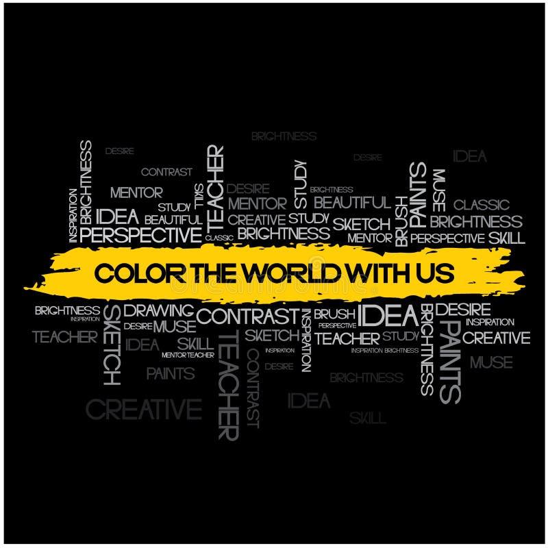 ilustracja składa się kolaż słowo kolor świat z my « ilustracja wektor