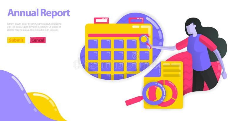 Ilustracja sprawozdanie roczne Ustawia planowanie dla firmy księgowości raportu i rozkład Korporacyjny pieniężny planowanie miesz ilustracji