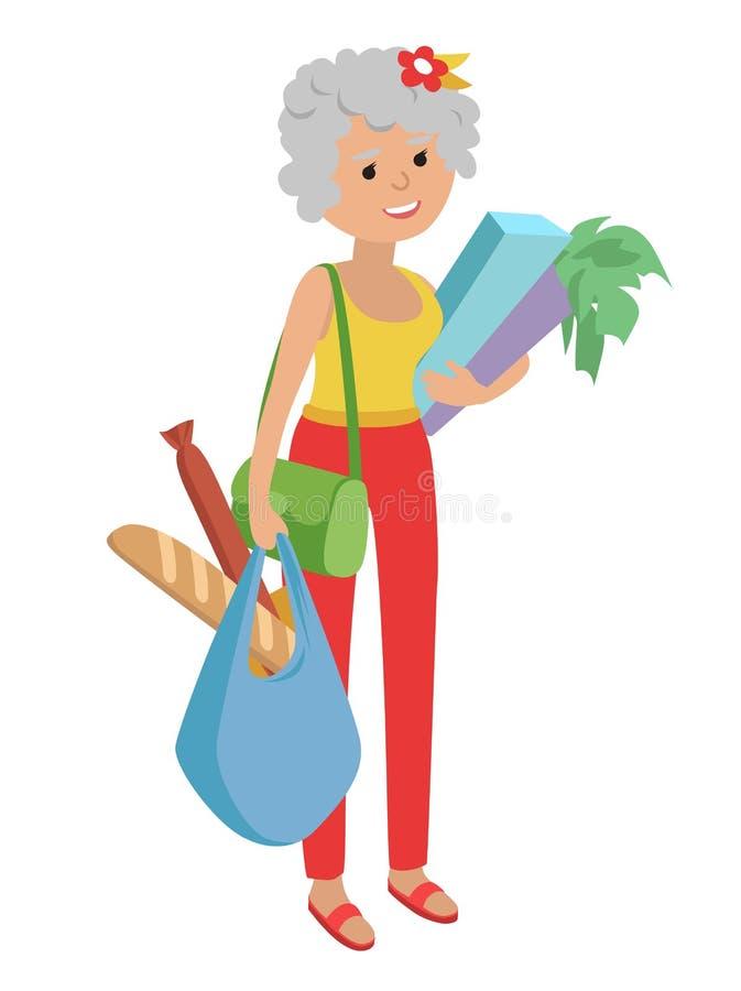Ilustracja starsi kobiety przewożenia toreb sklepy spożywczy ilustracja wektor