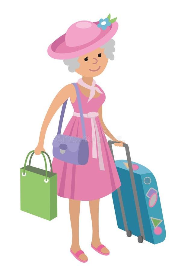 Ilustracja starsza kobieta na robić zakupy białego tło ilustracja wektor