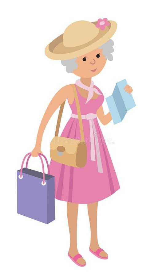 Ilustracja starsza kobieta na robić zakupy białego tło w mieszkanie stylu ilustracji