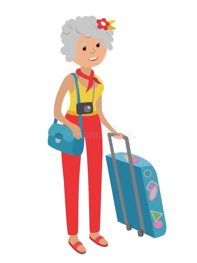 Ilustracja starszy kobiety podróżować odizolowywam na białym tle ilustracja wektor