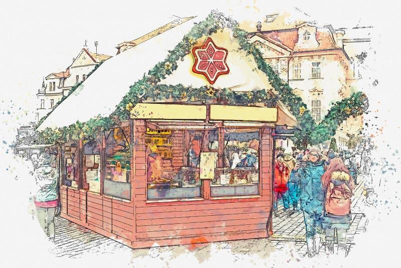 ilustracja Stary rynek w Praga na święto bożęgo narodzenia royalty ilustracja
