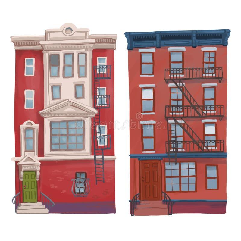 Ilustracja starzy multistory czerwoni budynki odizolowywający na białym tle ilustracji