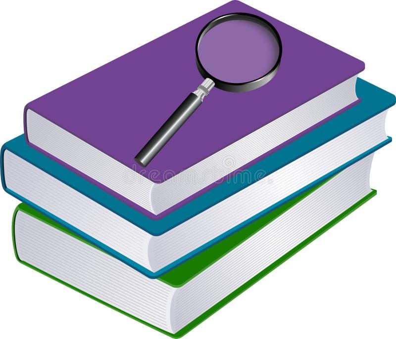 Ilustracja sterta książki z magnifier ilustracja wektor