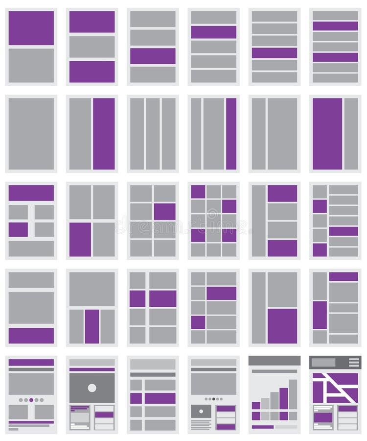 Ilustracja stron internetowych Flowcharts i miejsce mapy ilustracja wektor