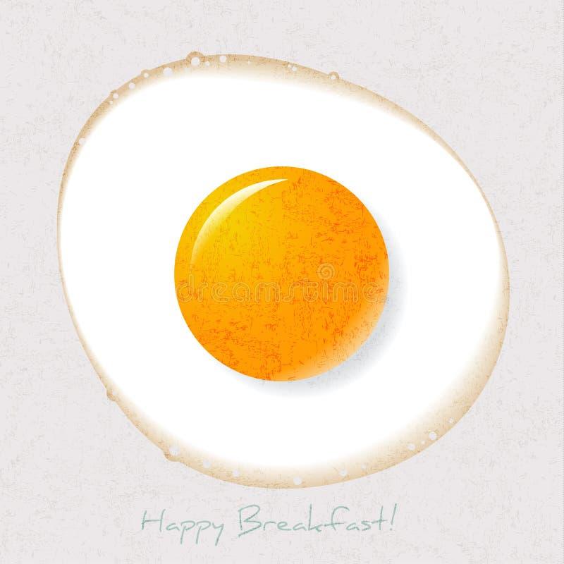 Ilustracja strony Up Smażący jajko Dzień dobry pocztówka Śniadaniowy obrazek royalty ilustracja