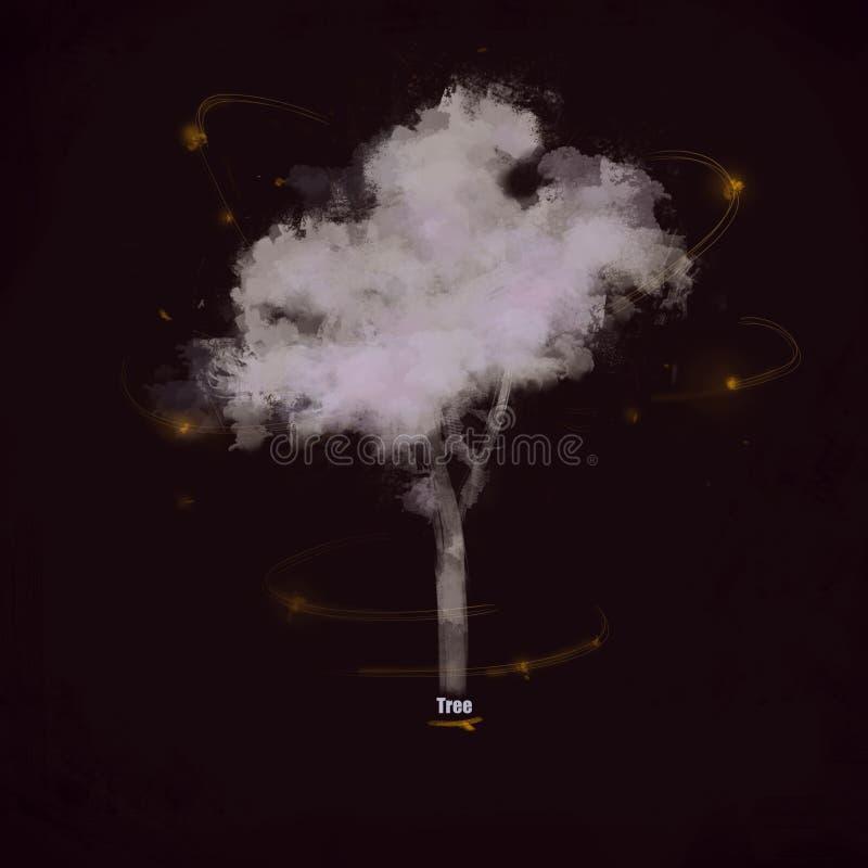 Ilustracja stylizowany drzewa światło na ciemnym tle obraz stock