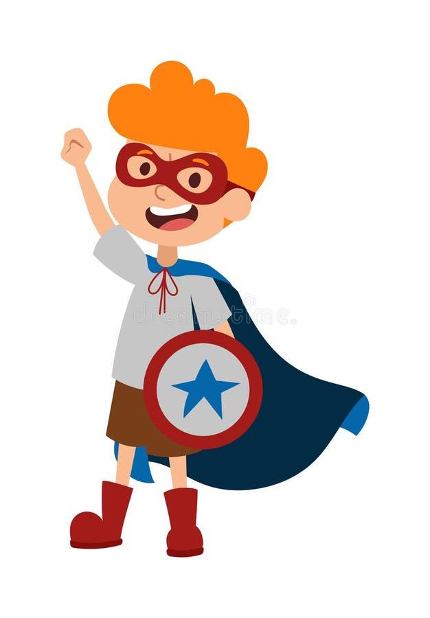Ilustracja super bohatera chłopiec postać z kreskówki wektor royalty ilustracja