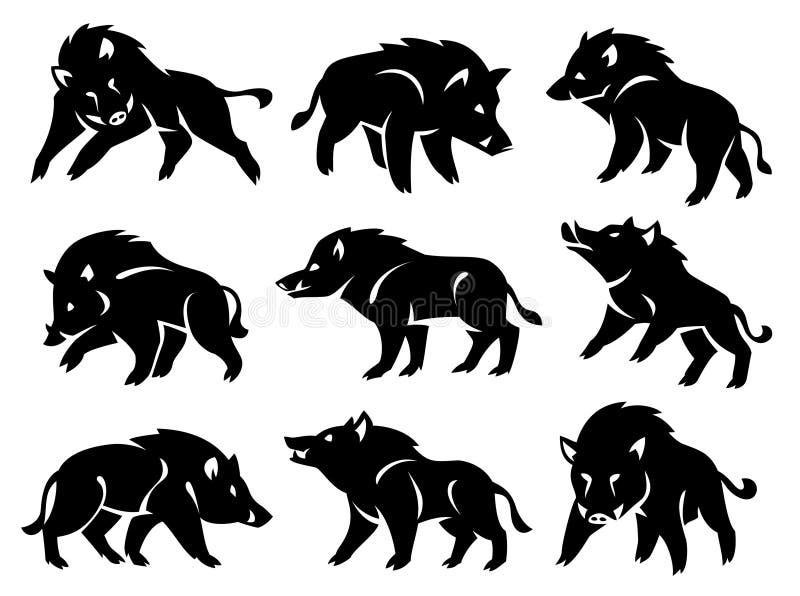 Ilustracja sylwetka dziki knur obrazy royalty free
