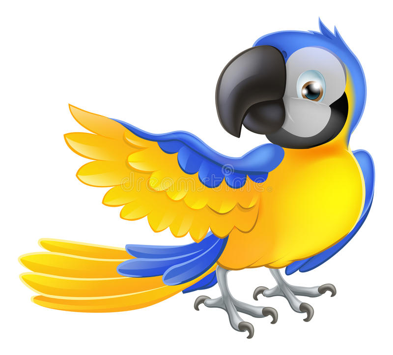 Śliczna błękitna i żółta papuga royalty ilustracja