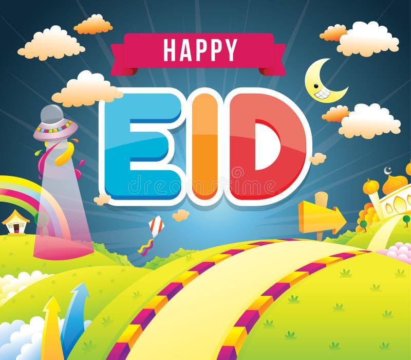 Ilustracja szczęśliwy eid z meczetem royalty ilustracja