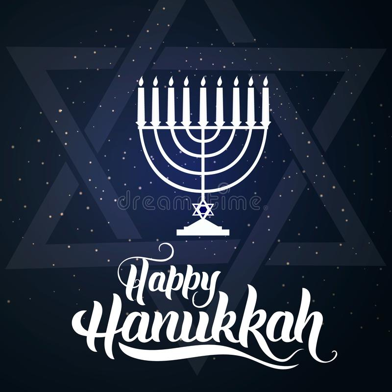 Ilustracja Szczęśliwy Hanukkah, Żydowski wakacyjny backgroun ilustracji