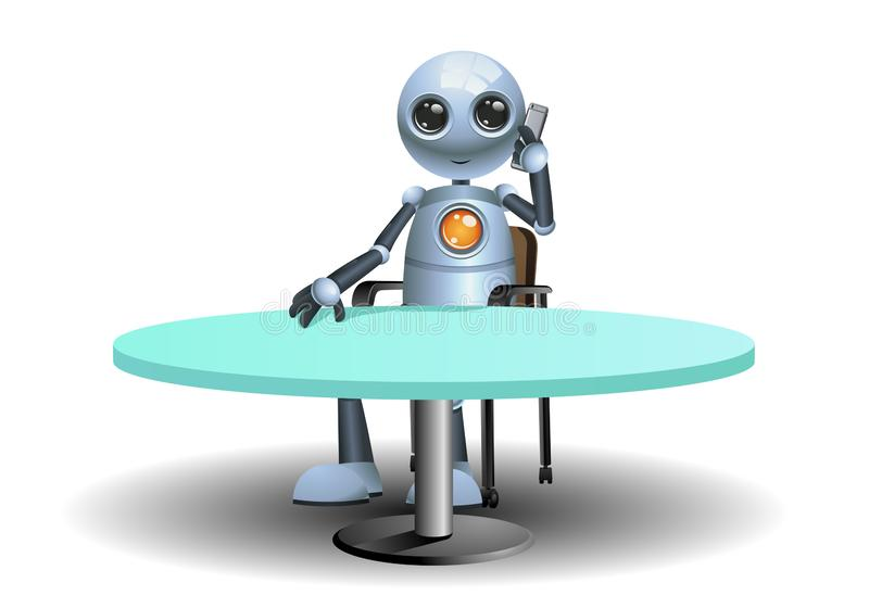 ilustracja szczęśliwy mały robota biznesmen dzwoni partnera biznesowego ilustracja wektor