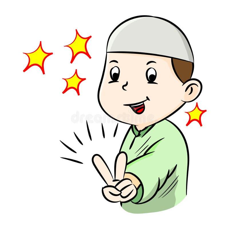 Ilustracja Szczęśliwy muzułmański chłopiec zwycięstwa gesta znak ilustracji