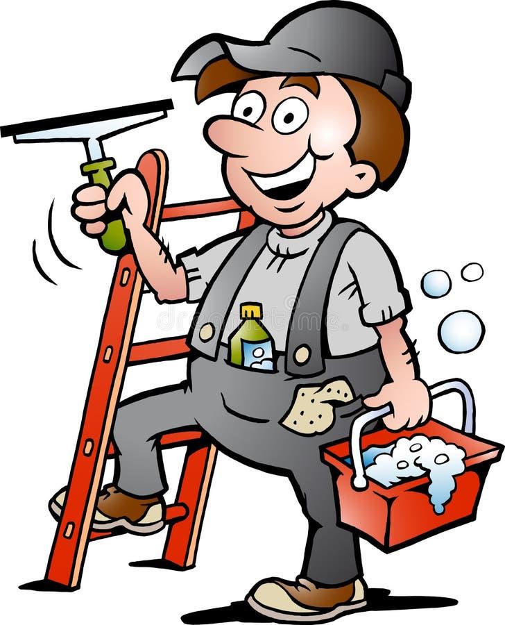 Ilustracja Szczęśliwy Nadokienny Cleaner royalty ilustracja