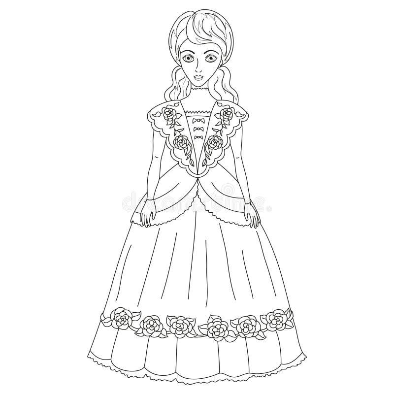 Ilustracja szlachcianka w antycznej sukni, kolorystyki książki strona ilustracji