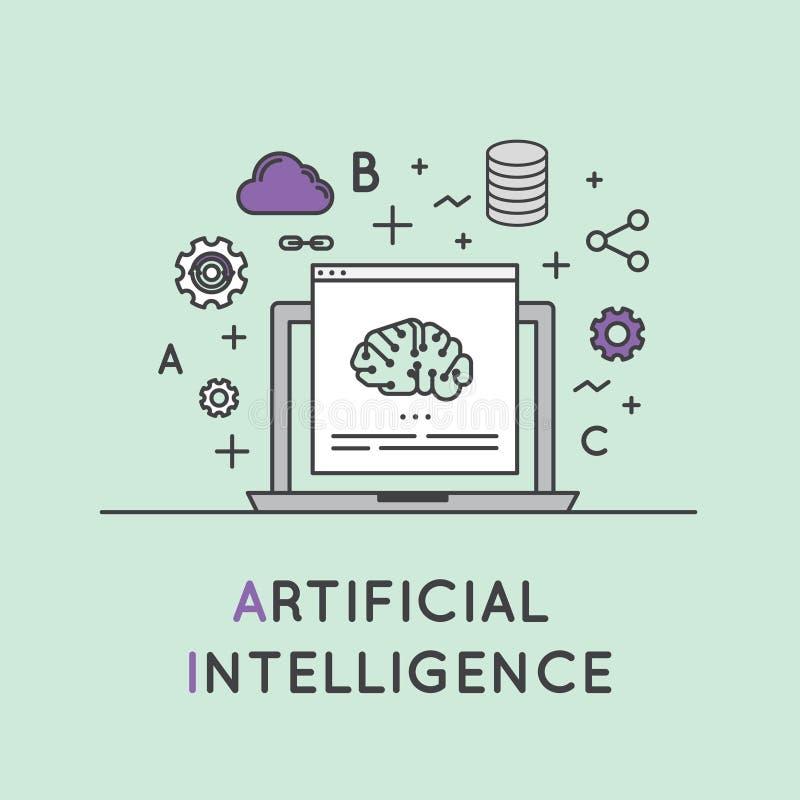 Ilustracja Sztucznej inteligenci i Maszynowego uczenie pojęcie ilustracja wektor
