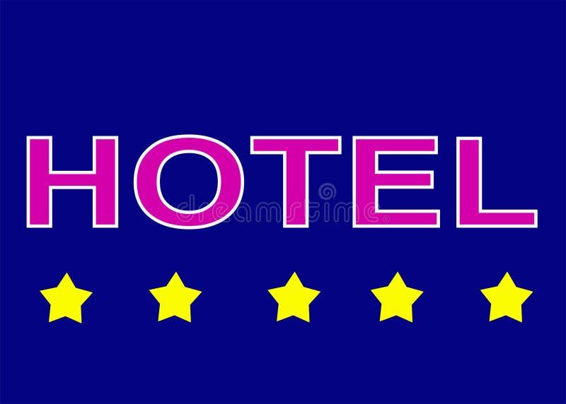 Ilustracja szyldowi pięć loga gwiazdowy hotel na błękitnym tle obraz royalty free