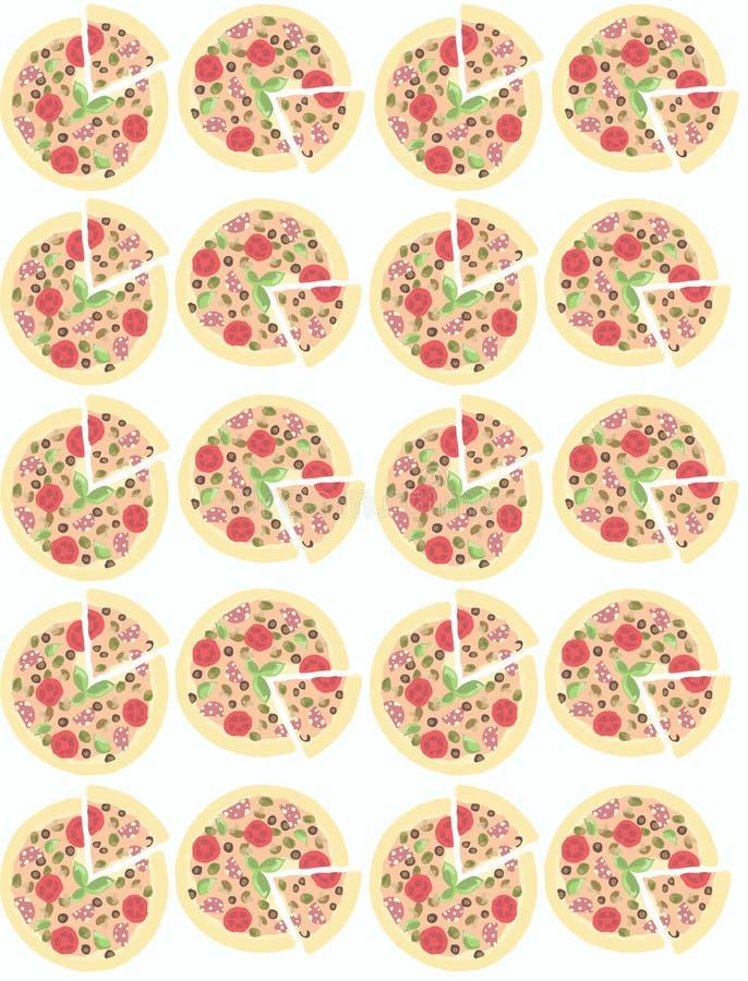 ilustracja Tło z pizzami bezszwowy wzoru royalty ilustracja