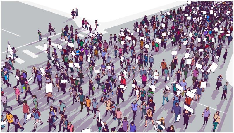 Ilustracja tłumu demonstrować dla równości i wmarsz royalty ilustracja