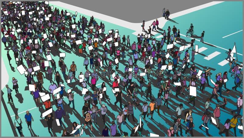 Ilustracja tłumu marsz dla praw człowieka z pustymi znakami royalty ilustracja
