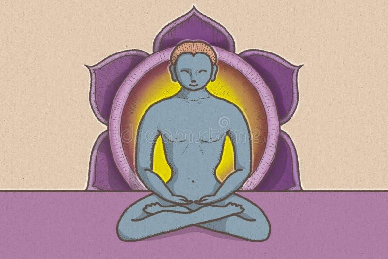 Ilustracja tantric pozycja z symbolami chakras i lotosowy kwiat royalty ilustracja