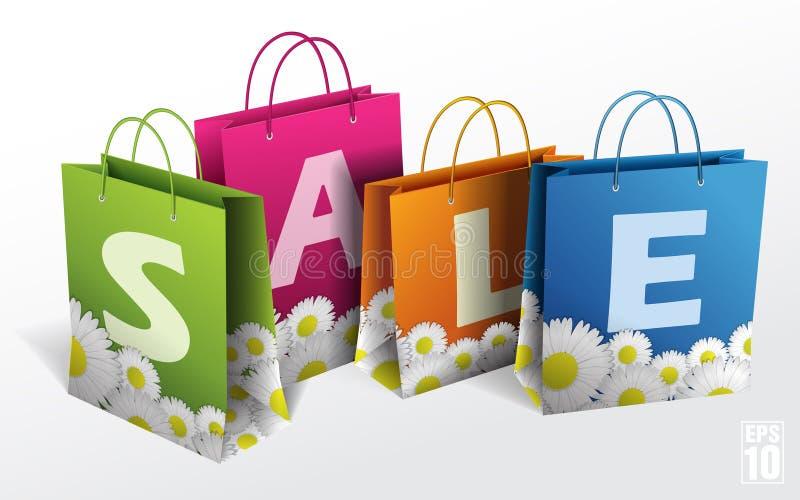 Ilustracja torba na zakupy na bielu Wiosna ilustracji