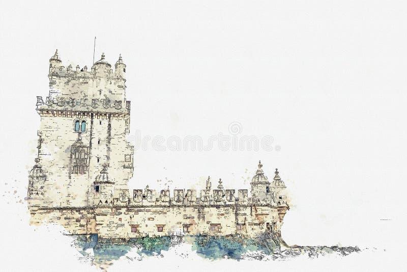 ilustracja Torre de Belem lub Belem wierza jest jeden przyciągania Lisbon ilustracja wektor