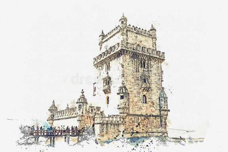 ilustracja Torre de Belem lub Belem wierza jest jeden przyciągania Lisbon royalty ilustracja